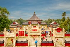 Beijing, China - June 8, 2018: View of the Gate of the Rising Clouds and the Imperial Skywalk from the Round Altar in the Temple o stock photos