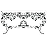 Imperialistisk barock konsoltabell Fransk lyx snidit prydnader dekorerat tabellmöblemang Viktoriansk kunglig stil för vektor stock illustrationer