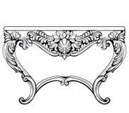 Imperialistisk barock konsoltabell Fransk lyx snidit prydnader dekorerat tabellmöblemang Viktoriansk kunglig stil för vektor royaltyfri illustrationer