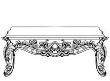 Imperialistisk barock konsoltabell Fransk lyx snidit prydnader dekorerat tabellmöblemang Viktoriansk kunglig stil för vektor vektor illustrationer