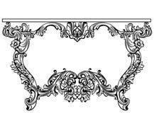 Imperialistisk barock konsoltabell Fransk lyx snidit prydnader dekorerat tabellmöblemang Viktorianska kunglig personstilar för ve stock illustrationer