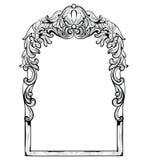 Imperialistisk barock spegelram för tappning Franska lyxiga rika invecklade prydnader för vektor Viktoriansk kunglig stildekor Fotografering för Bildbyråer