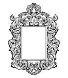 Imperialistisk barock spegelram Franska lyxiga rika invecklade prydnader för vektor Viktoriansk kunglig stildekor Royaltyfri Foto