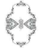 Imperialistisk barock spegelram Prydnader och kristaller för vektor franska lyxiga rika invecklade Viktoriansk kunglig stildekor Arkivfoto