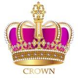 imperialistisk krona med juvlar på en vit bakgrund stock illustrationer