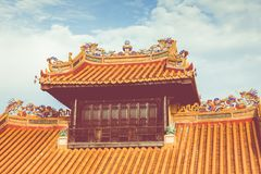 Imperialistiska Royal Palace av Nguyen dynasti i ton, Vietnam Tonen är royaltyfri fotografi