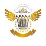 Imperialistiskt kronaemblem Heraldisk vapensköld, tappningvektorjournal stock illustrationer
