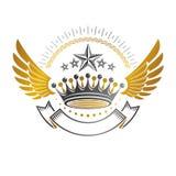 Imperialistiskt kronaemblem Heraldisk vapensköld, tappningvektorjournal vektor illustrationer