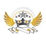 Imperialistiskt kronaemblem Heraldisk vapensk?ld, tappningvektorlogo royaltyfri illustrationer