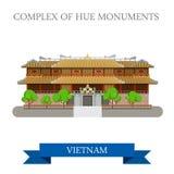 Imperialistiskt stadsaka komplex av Hue Monuments i den Vietnam dragningen royaltyfri illustrationer