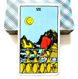 8 Eight of Cups Tarot Card Impermanence Finished Over Walking Away Moving On Letting Go. Impermanence Finished Over Walking Away Moving On Letting Go Had Enough Stock Photos