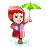 Impermeabile del ragazzino ed ombrello d'uso di tenuta illustrazione vettoriale