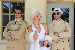 Impersonator Marylin Monroe and boys Royalty Free Stock Photos