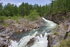 Kema River, impetuous mountain stream of Russian Far East royalty free stock photo