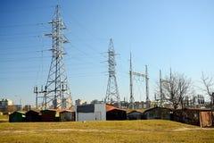 Impianti di energia elettrici nel distretto di Justiniskes della città di Vilnius Immagini Stock