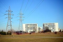 Impianti di energia elettrici nel distretto di Justiniskes della città di Vilnius Immagini Stock Libere da Diritti
