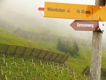 Impianti di protezione di Wengen, della Svizzera, della neve e segni muniti di segnaletica fotografia stock libera da diritti