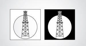Impianti offshore in bianco e nero Immagini Stock Libere da Diritti