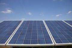 Impianto agricolo a fini energetici elettrico di ecologia con la batteria del pannello solare nella f verde Fotografie Stock