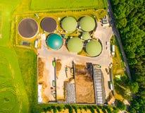 Impianto di biogas ed azienda agricola Immagine Stock