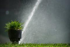 Impianto di irrigazione del campo di football americano o di calcio di erba d'innaffiatura automatica Fotografie Stock Libere da Diritti