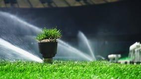 Impianto di irrigazione del campo di football americano o di calcio di erba d'innaffiatura automatica Con il suono originale video d archivio