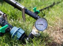 Impianto di irrigazione per prato inglese immagine stock