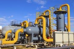 Impianto di lavorazione del gas e del petrolio Fotografia Stock