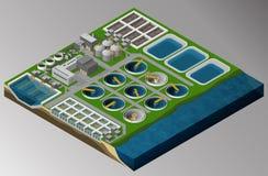 Impianto di trattamento delle acque reflue Fotografia Stock