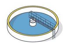 Impianto di trattamento delle acque reflue nel simbolo stilizzato di vettore del profilo Infographics isometrico Fotografia Stock Libera da Diritti