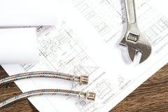 Impianto idraulico e disegni, natura morta della costruzione Fotografie Stock