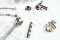 Impianto idraulico e disegni, natura morta della costruzione Immagine Stock