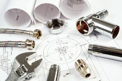 Impianto idraulico e disegni, natura morta della costruzione Fotografie Stock Libere da Diritti