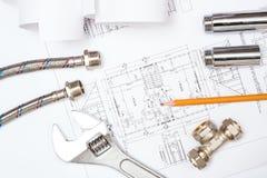 Impianto idraulico e disegni, natura morta della costruzione Fotografia Stock Libera da Diritti