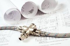 Impianto idraulico e disegni, natura morta della costruzione Immagini Stock
