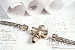 Impianto idraulico e disegni, natura morta della costruzione Immagine Stock Libera da Diritti