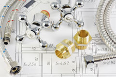 Impianto idraulico in termini di piano Fotografia Stock