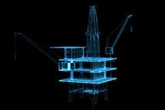 Impianto offshore (azzurro dei raggi X 3D) Fotografie Stock Libere da Diritti