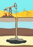 Impianto offshore con gli strati del suolo illustrazione vettoriale