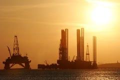Impianto offshore nel Mar Caspio Immagini Stock Libere da Diritti