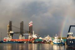 Impianto offshore nel porto di Esbjerg, Danimarca immagine stock libera da diritti