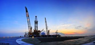 Impianto offshore panoramico Immagine Stock