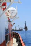 Impianto offshore tenero di perforazione (impianto offshore della chiatta) sulla produzione Platfo Fotografia Stock Libera da Diritti