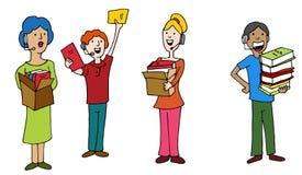 Impiegati dell'operatore di call center di Dontation dell'azionamento di libro Immagine Stock