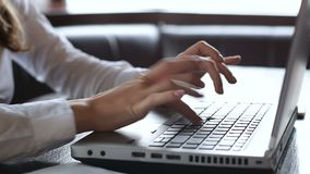 Impiegato contabile femminile che lavora al computer portatile, calcolando debito della società e credito stock footage
