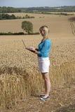 Impiegato dell'azienda agricola nel campo di grano Fotografia Stock Libera da Diritti
