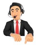 impiegato della call center 3D che indica giù Spazio Immagine Stock Libera da Diritti