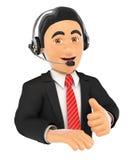 impiegato della call center 3D con il pollice su Fotografia Stock