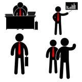 Impiegato di concetto alla tavola il responsabile mostra il grafico Colleghi di saluto Illustrazione di vettore illustrazione vettoriale