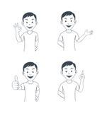 Impiegato di concetto divertente del fumetto in varie pose Immagine Stock Libera da Diritti